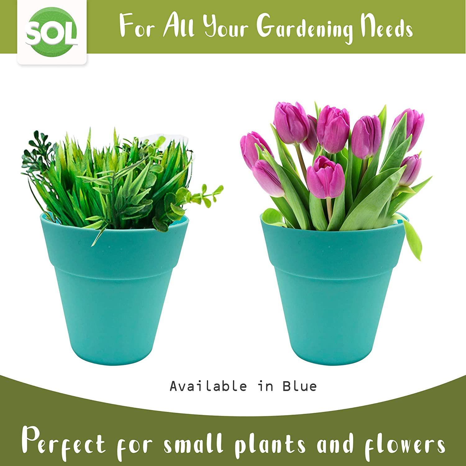 Bonsai Plants Blue and Purple Plastic Pots Perfect for Succulent Cacti Includes Gardening Ebook Indoor and Outdoor Flower Pots BLUE 8 x Small Plant Pots