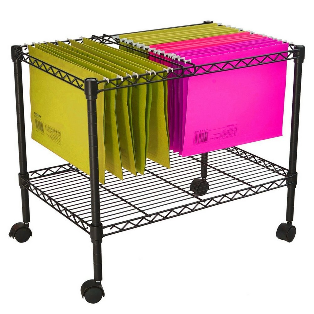 Mobile File Organizer Office Documents Rolling Utility Cart Metal Wire Shelving Metal Frame Portable Adjustable Shelf 4 Swivel Casters Home Office Indoor Mobile Storage Furniture & eBook by BADA shop