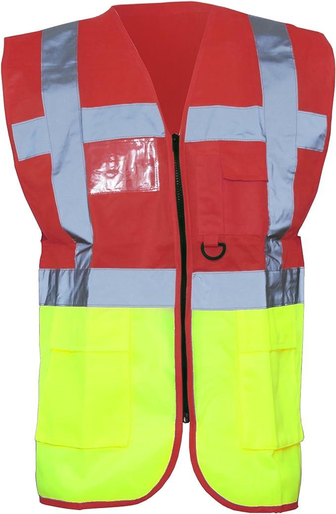 2XL, Hi Vis Executive Waistcoat Orange Mega/_JumbleSale/® Hi Viz Vis Safety Security Reflective Tape Yellow//Orange Vest Men High Visibility Executive Manager Work Waistcoat