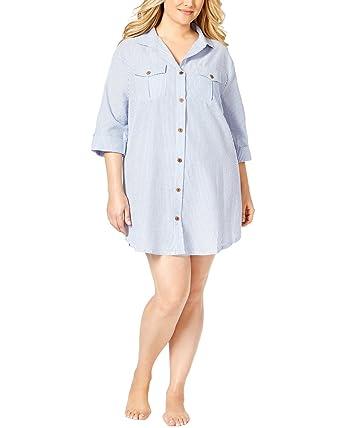 c53f3f0cd2f Dotti Womens Plus Textured Woven Dress Swim Cover-Up Blue 2X at ...