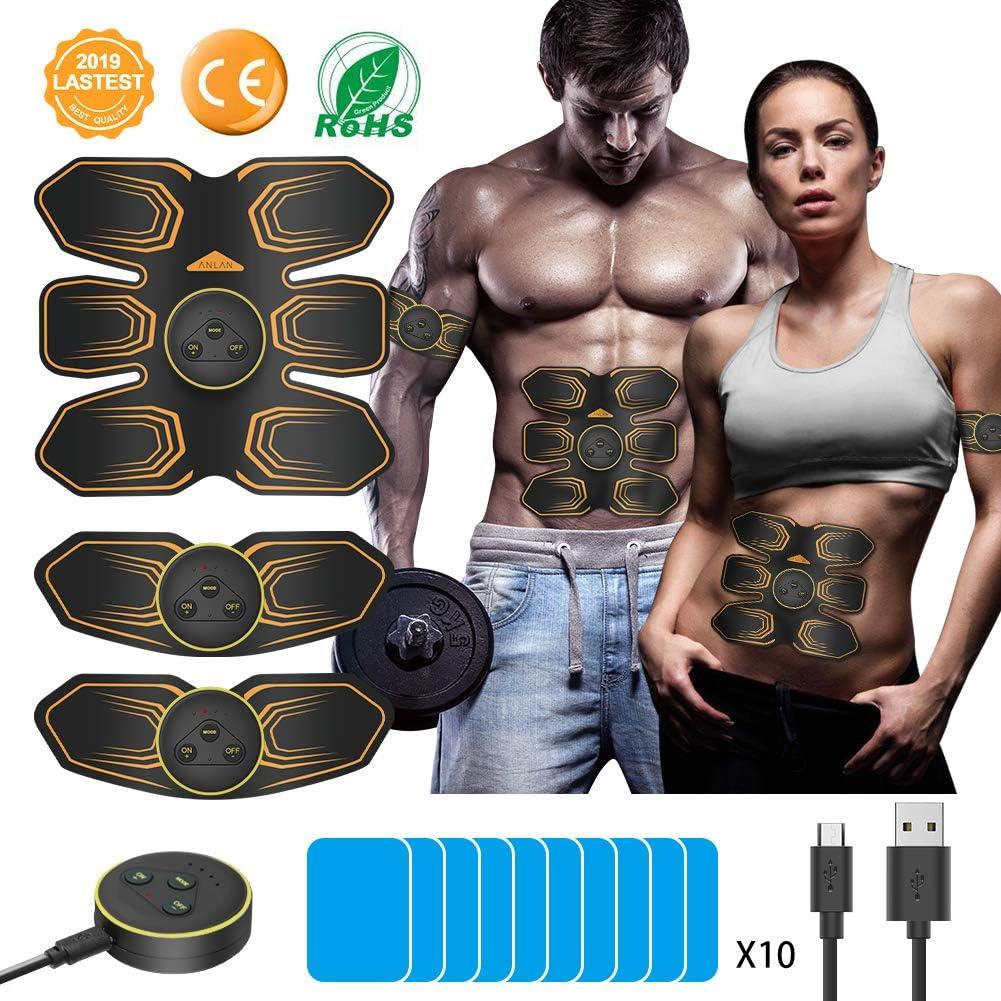 ANLAN Electroestimulador Muscular Abdominales, EMS Estimulador, Abdomen/Brazo/Piernas Entrenador Muscular con USB Recargable, 6 Modos y 10 Niveles de Intensidad (Hombres/Mujeres)