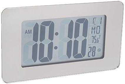 Marathon - Reloj atómico de pared autoajustable con soporte y 8 zonas horarias, pilas incluidas
