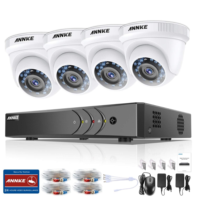 ANNKE Kit Sistema de Seguridad CCTV Cámara de vigilancia Luz estelar 4CH 3MP H.265+ DVR con 4 Cámaras 1080P IP66 Impermeable Visión nocturna No-Ruido Alerta ...