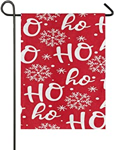 Garden Flag 28x40 Double Sided Hohoho Santa Claus Laugh Red Snowflake Burlap Xmas Winter New Year Decorative House Yard Flags for Outside Outdoor Welcome Home Decor Banner Large Size 28 x 40 inches