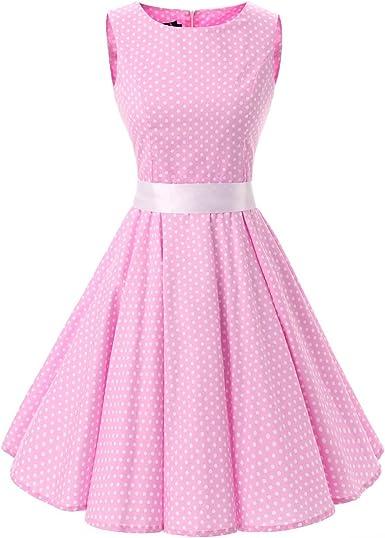 Vestido Corto de cóctel sin Mangas, diseño de Lunares, Color Rosa ...