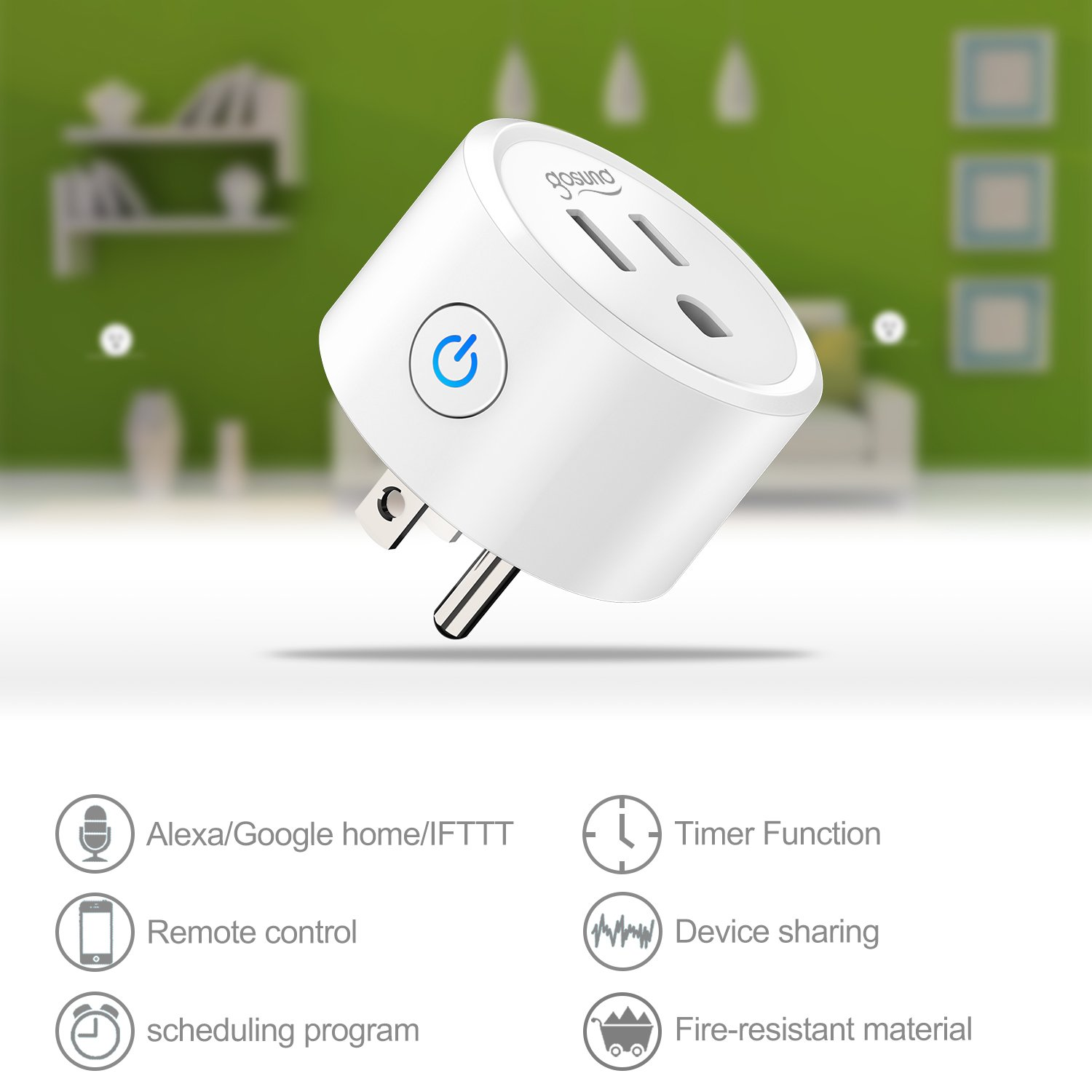 Gosund Mini Smart Plug, Wifi Enabled Outlet Socket with
