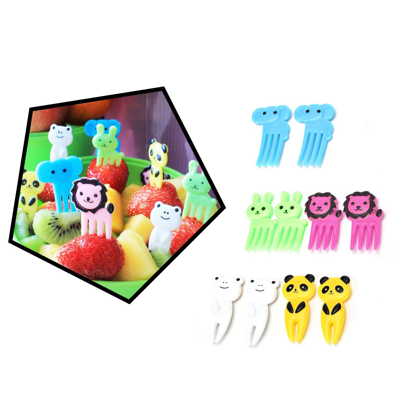 Obstgabel Gem/üse Kunststoff Env 4.2*2.5*0.3 cm Tier-Set Mini Zoo Kuchengabel und Cocktail Obstgabel mehrfarbig Dessertgabel Kindergabel
