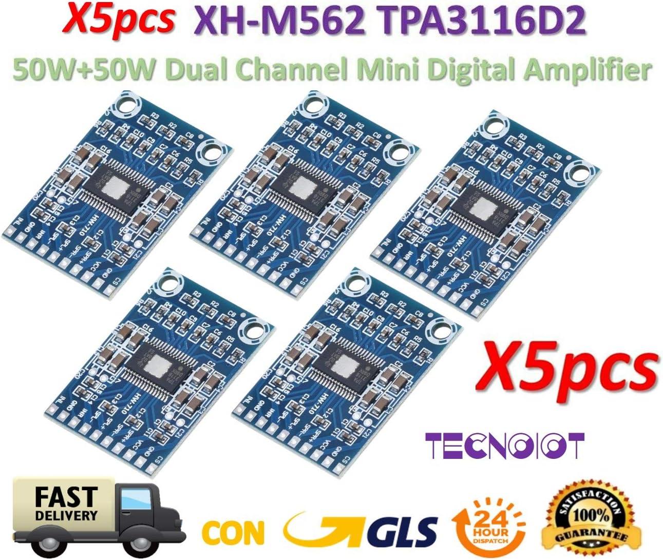 TECNOIOT 5pcs XH-M562 TPA3116D2 Digital Audio Amplifier DC 12V-24V 2x50W Dual Channel