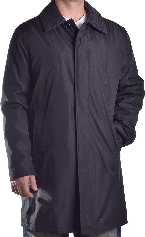 LONDON FOG Mens Microfiber Wool Trim Raincoat