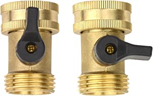 2Sets Brass Fittings Male Connector with Individual On/Off Valves Garden Tap Hose Adapter