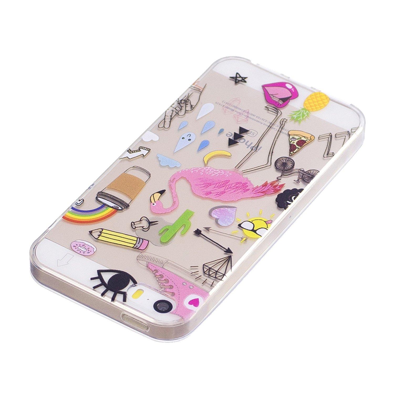 4.0 Pulgadas Qiaogle Funda iPhone 5 // 5G // 5S // SE - HX86 // Pintado Graffiti Funda de TPU Silicona Carcasa Case Cover para Apple iPhone 5 // 5G // 5S // SE