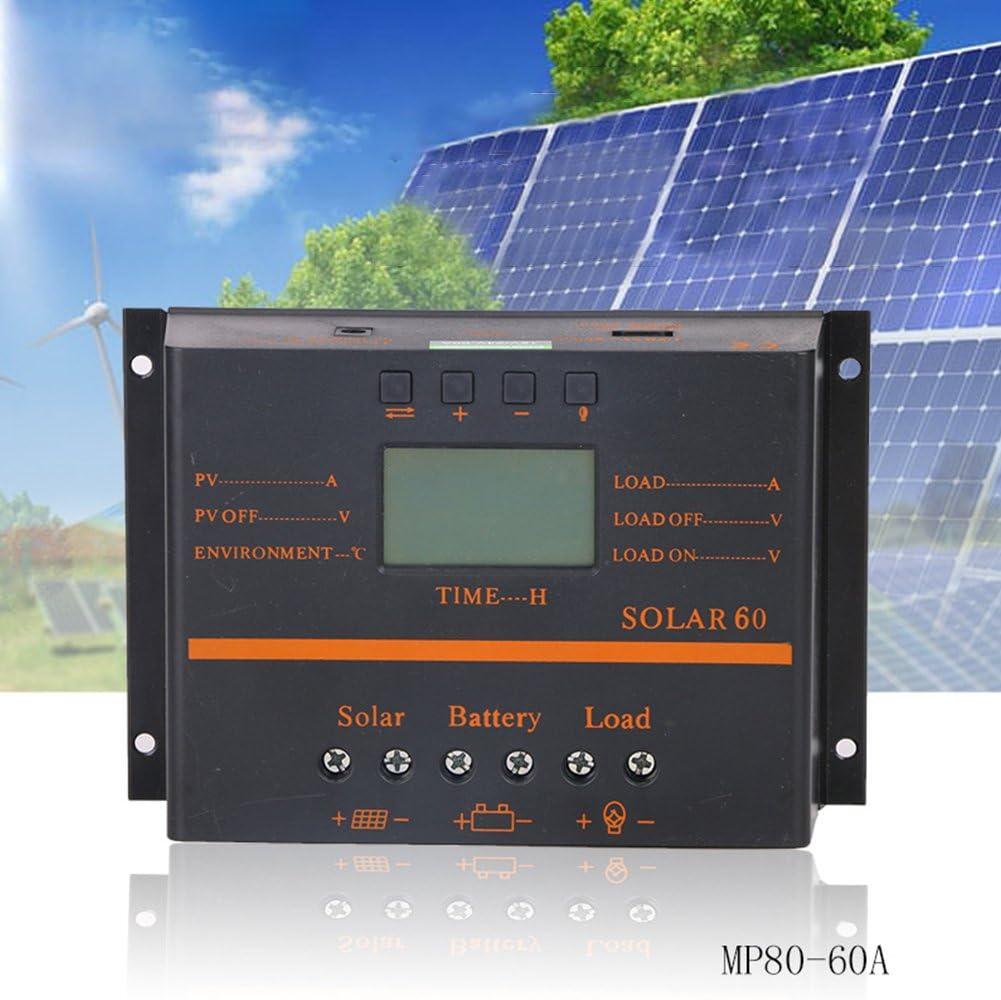 BeesClover 60A PWM 12V 24V LCD Solar Controlador fotovoltaico Solar Panel Controlador de Descarga de Carga