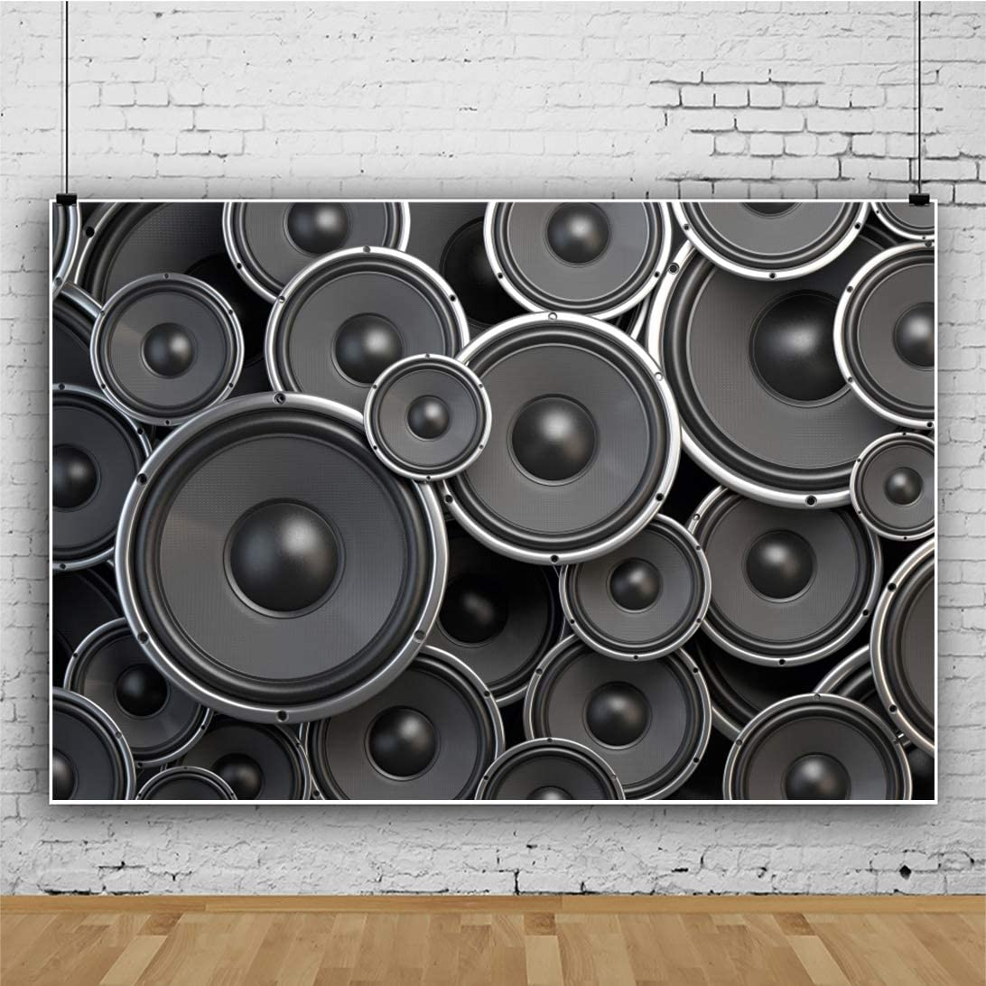YEELE Sound Speakers Backdrop Black Subwoofers Loudspeaker Photography Background 10x8ft Music Themed Singer Birthday Kids Youngster Adults Portrait Photo Shoot Digital Wallpaper