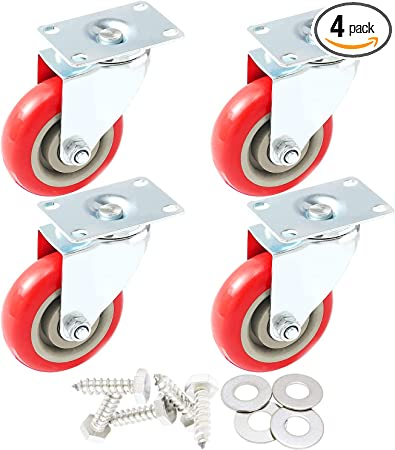 "100 Pack Caster Wheels Swivel Plate On Red Polyurethane Wheels 2/"" no brake"
