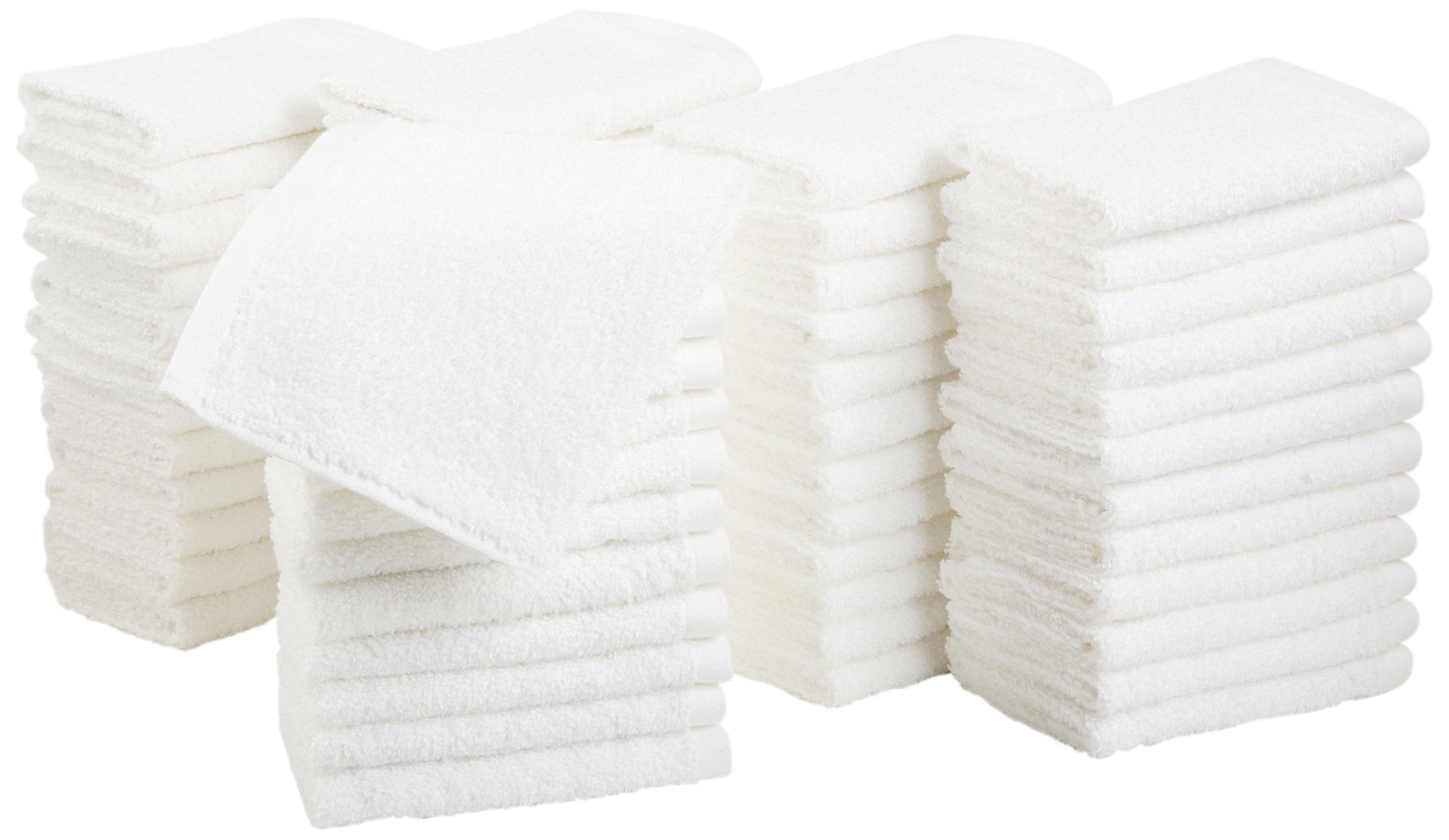 AmazonBasics Cotton Washcloths - Pack of 60, White by AmazonBasics