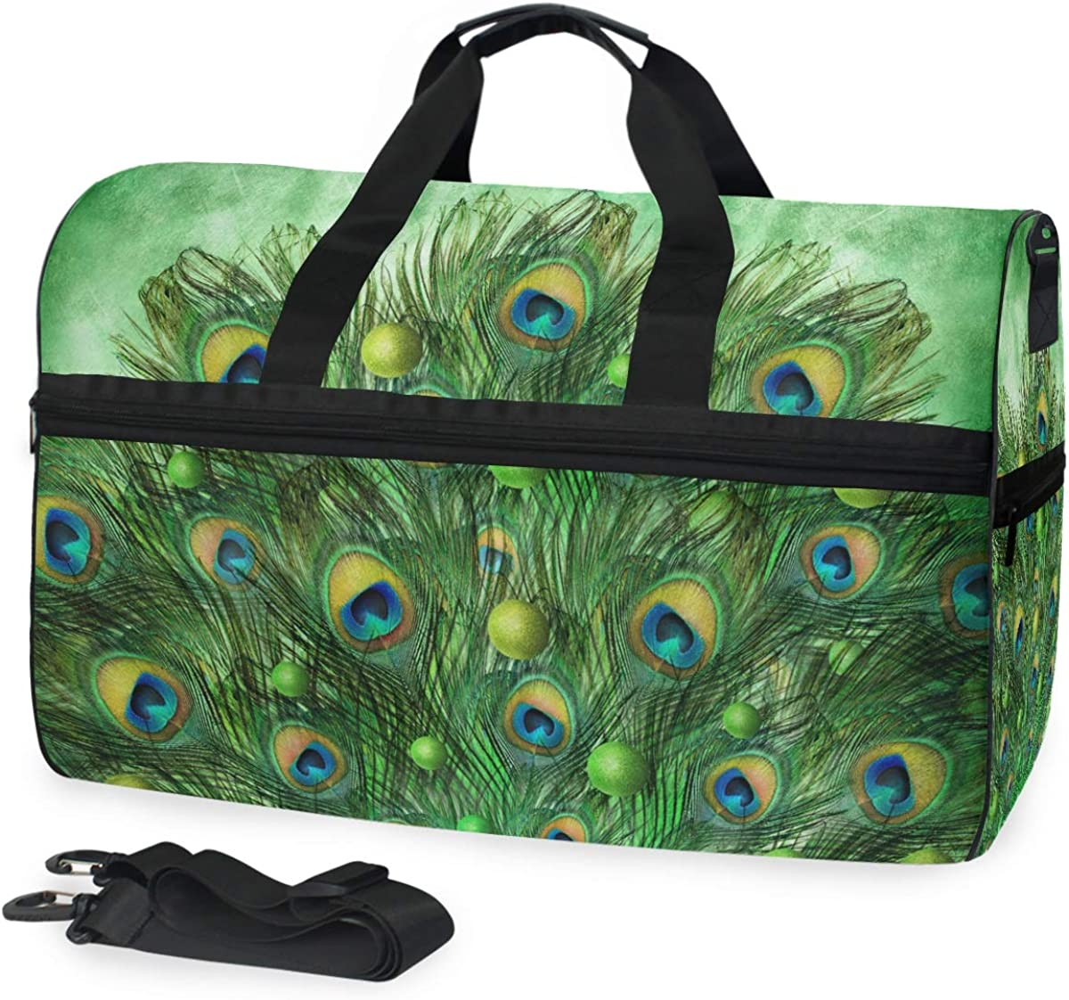 Large Capacity Travel Bag Peacock Feathers Green Gym Bag for Men Women With Shoe Compartment Sports Bag