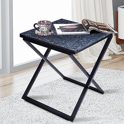 PrimaSleep 22u0027u0027H Modern Natural Granite Top X Steel Coffee Table/ Side Table