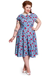 771763ce5a8 Hell Bunny Plus 50 s Retro Pinup Apple and Blossom Print Francine Dress