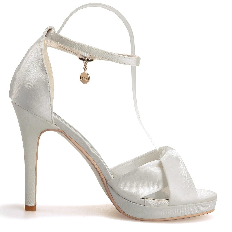 Elobaby Elobaby Elobaby Scarpe da Sposa Donna WR584 Peep Toe Fashion Satin Autunno Sera rossoonda (Tacco 11cm) | In vendita  d2a964