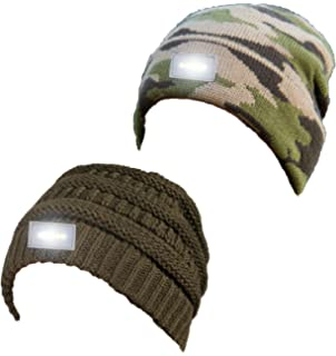 Funky Junque Solid Ribbed Day Night Reversible LED Flash Light Beanie Hat 54f214b0fc35