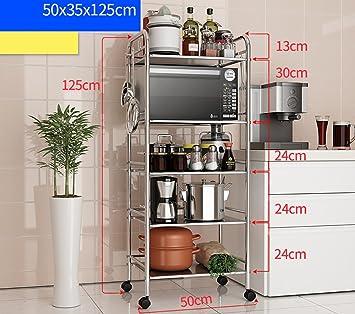 CFstc Estantería de Cocina Estanterías para hornos de microondas Estanterías  de Utensilios de Cocina de Acero Inoxidable (Tamaño   50   35   125cm)  ... 75d019e272da