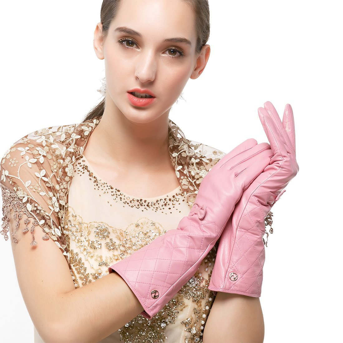 Nappaglo Women's Winter Long Leather Gloves Genuine Nappa Leather Touchscreen Quilted Bow Party Mittens (L (Palm Girth:7.5''), Pink (Non-Touchscreen))