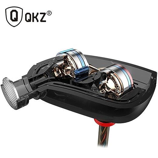 QKZ ZN1 doble controlador Turbo amplio campo de sonido de graves extra auriculares con micrófono: Amazon.es: Electrónica