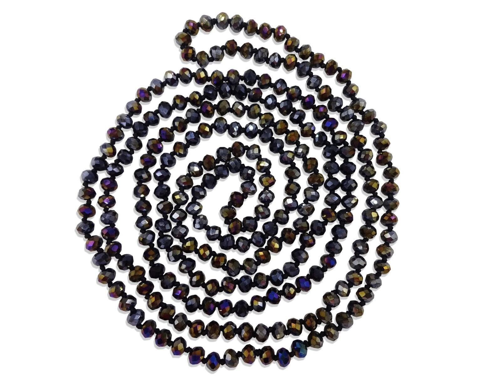 BjB 80-inch Long Endless Infinity Beaded Statement Crystal Necklace in Jet Black Aurora Borealis