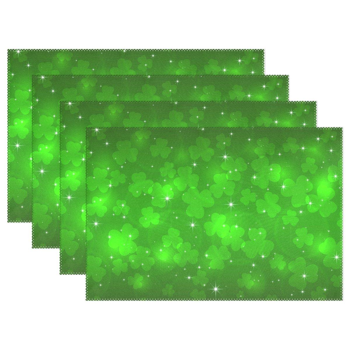 My Dailyグリーンクローバー星聖パトリックの日プレースマットのダイニングテーブルのセット4耐熱性洗濯可能ポリエステルキッチンテーブルマット 12 x 18 inch 6  B0797RK1QR