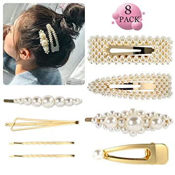 Women Girls Barrette Hair Clips Slides Pearl Hairpin Grips Wedding Accessories