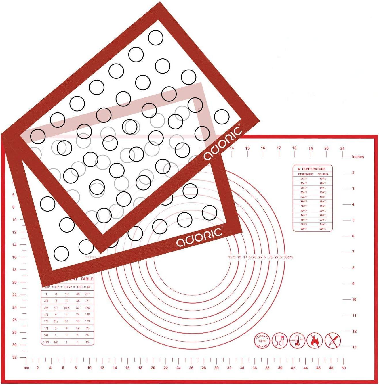 Silicone Baking Mats Pastry Mat, Adoric 2Pack Non-stick Baking Mat and 1Pack 16x24 Inch Silicone Pastry Mat with Measurement Fondant Mat, Counter Mat, Dough Rolling Mat, Oven Liner, Pie Crust Mat