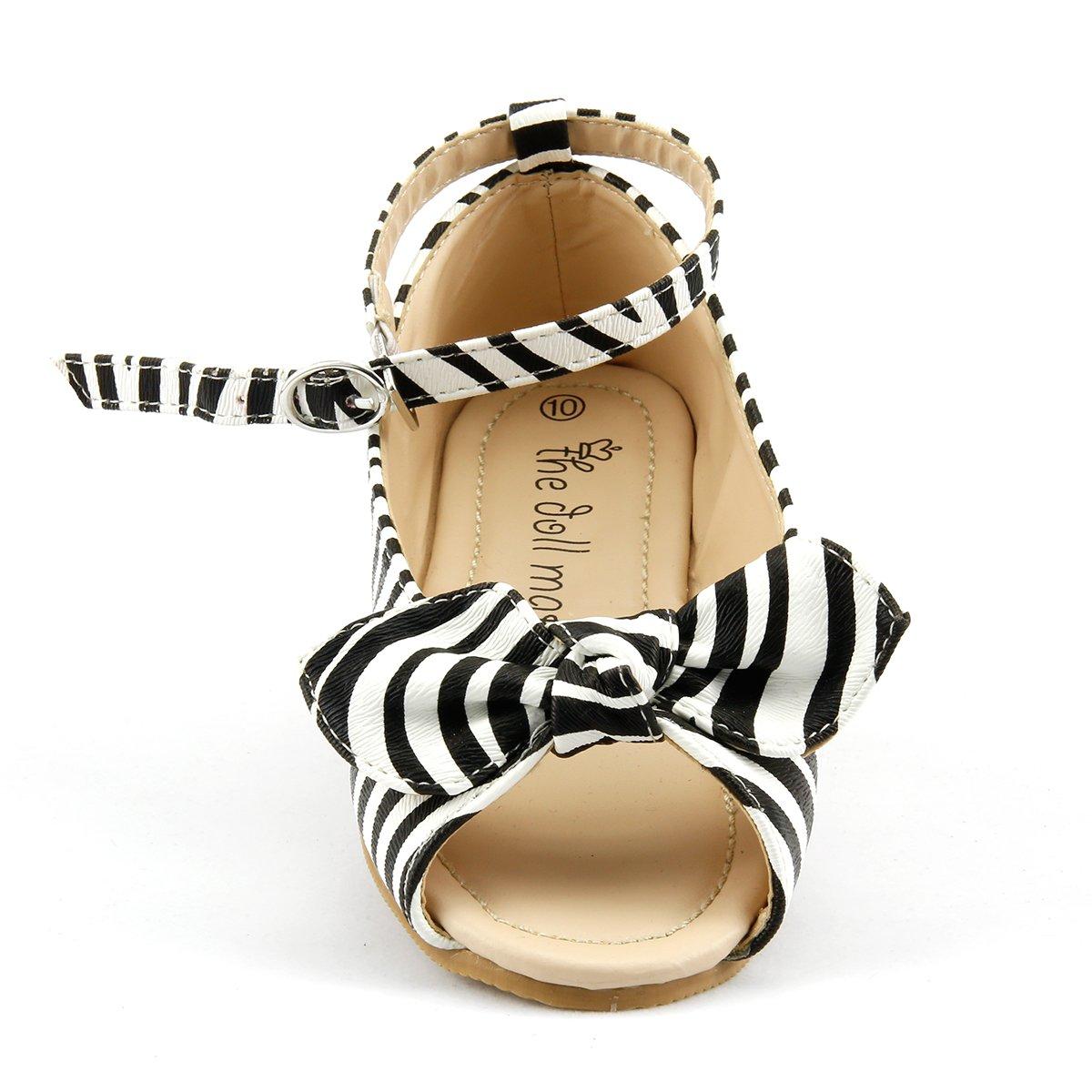 Summer Stylish Girls Shoes White Black Zebra Peep Toe Sandal Toddler Size 10