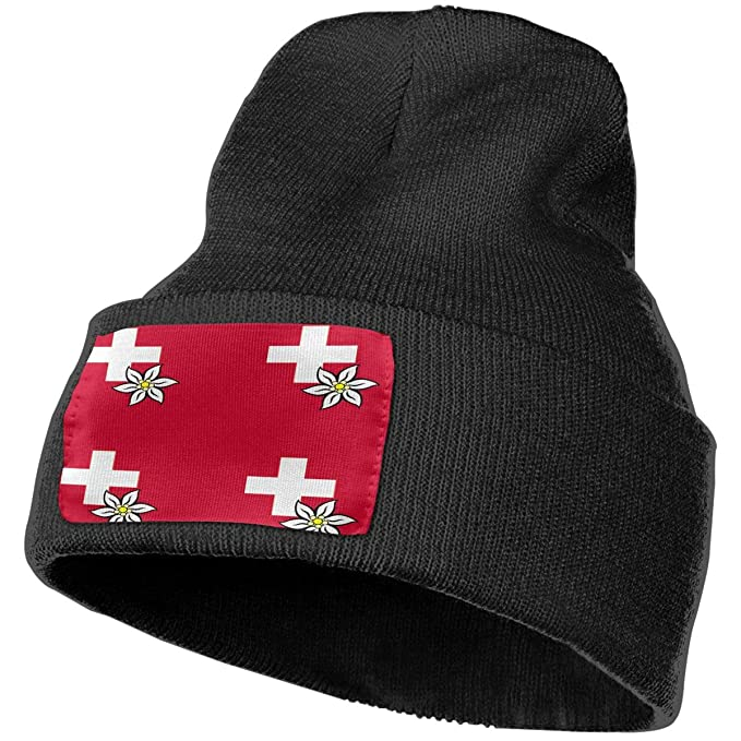 Unisex Swiss Cross and Edelweiss Beanie Skull Caps Knit Hat for Winter Warm  Hat Black 47a3f748944