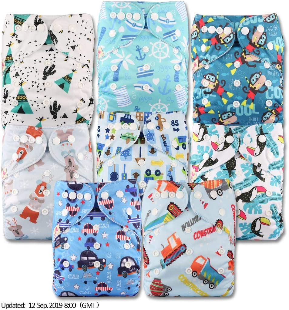 Reusable Pocket Cloth Nappy Fastener: Popper Patterns 808 Littles /& Bloomz with 16 Bamboo Inserts Set of 8