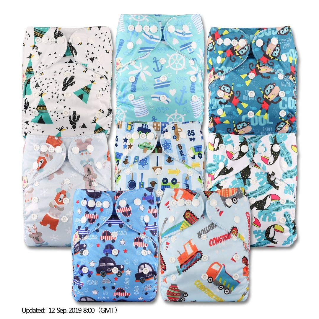 Reusable Pocket Cloth Nappy with 8 Bamboo Charcoal Inserts Fastener: Popper Littles /& Bloomz Set of 8 Patterns 802