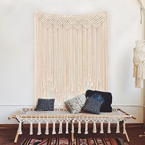 AerWo Macrame Wall Hanging 39 x 45 100 x 115cm Cotton Handmade Woven Wall Tapestry Large Boho Wedding Backdrop Wall Decoration for Living Room