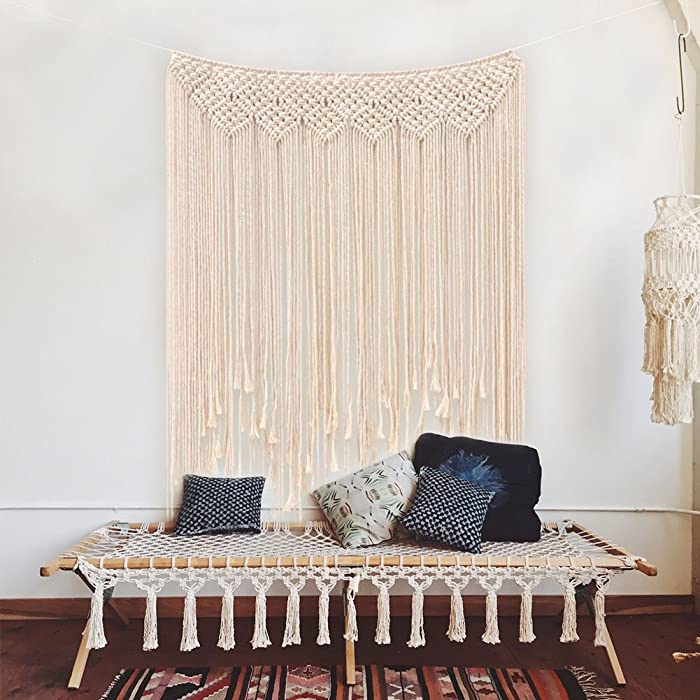 "AerWo Macrame Wall Hanging 39""x 45""(100 x 115cm) Cotton Handmade Woven Wall Tapestry Large Boho Wedding Backdrop Wall Decoration for Living Room"