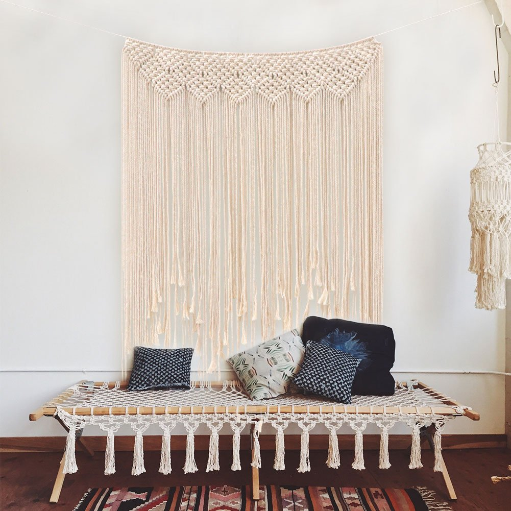 Aparty4u Large Handmade Macrame Wall Hangings 45 x 39 Inch, Evenly Woven Wall Tapestry Cotton Rope Fringe Banner for Boho Wedding Backdrop Decorations Home Art Décor