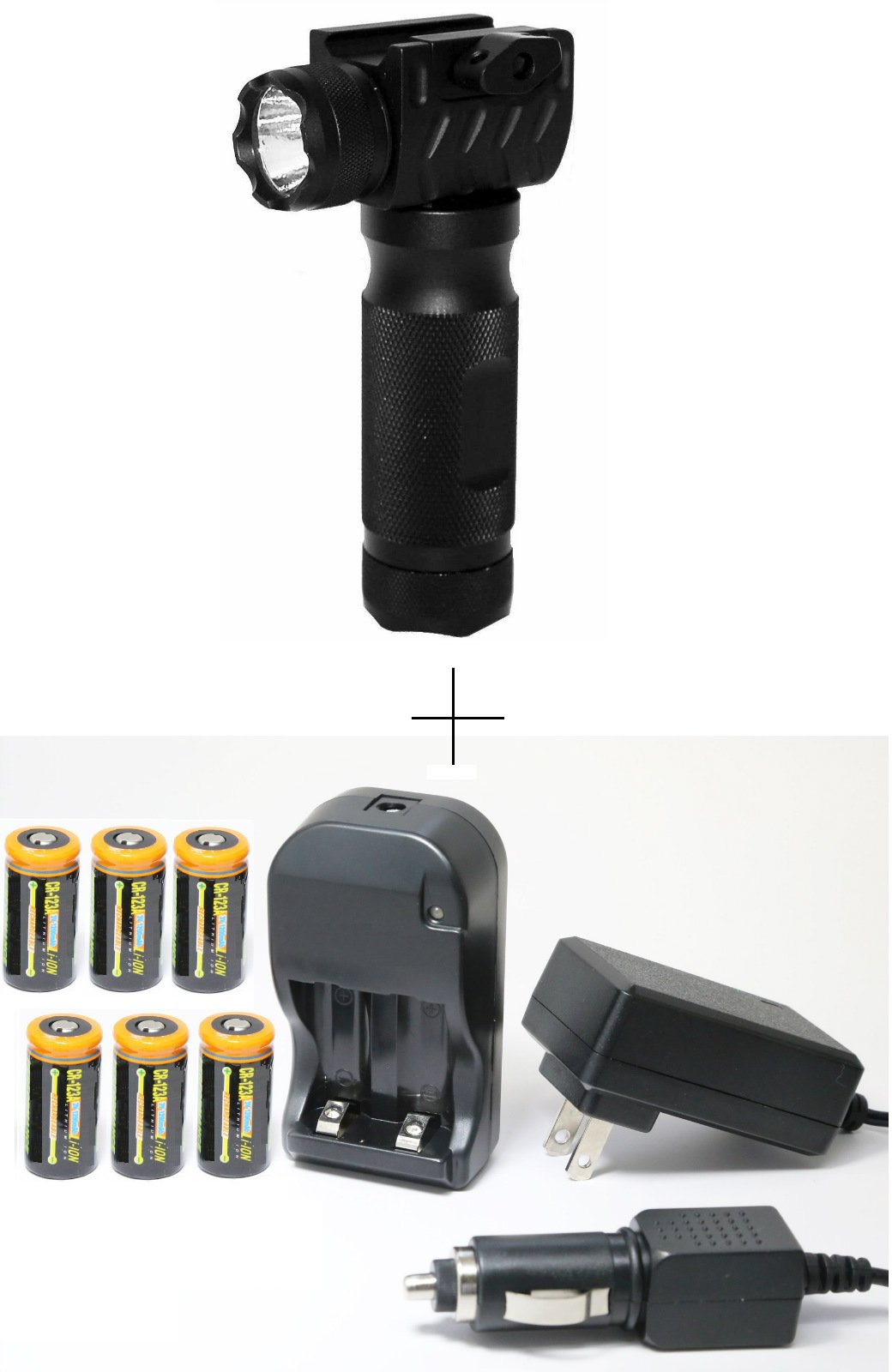 Ultimate Arms Gear QD Precision Machined Aluminum 150 Lumens LED Flashlight Vertical Handle Combo For Rifle Shotgun Weaver Picatinny System - Batteries Included + 6pc CR123A 3V 1200 mAh Lithium Li-Ion Rechargeable Batteries Battery Charger Kit with Univer