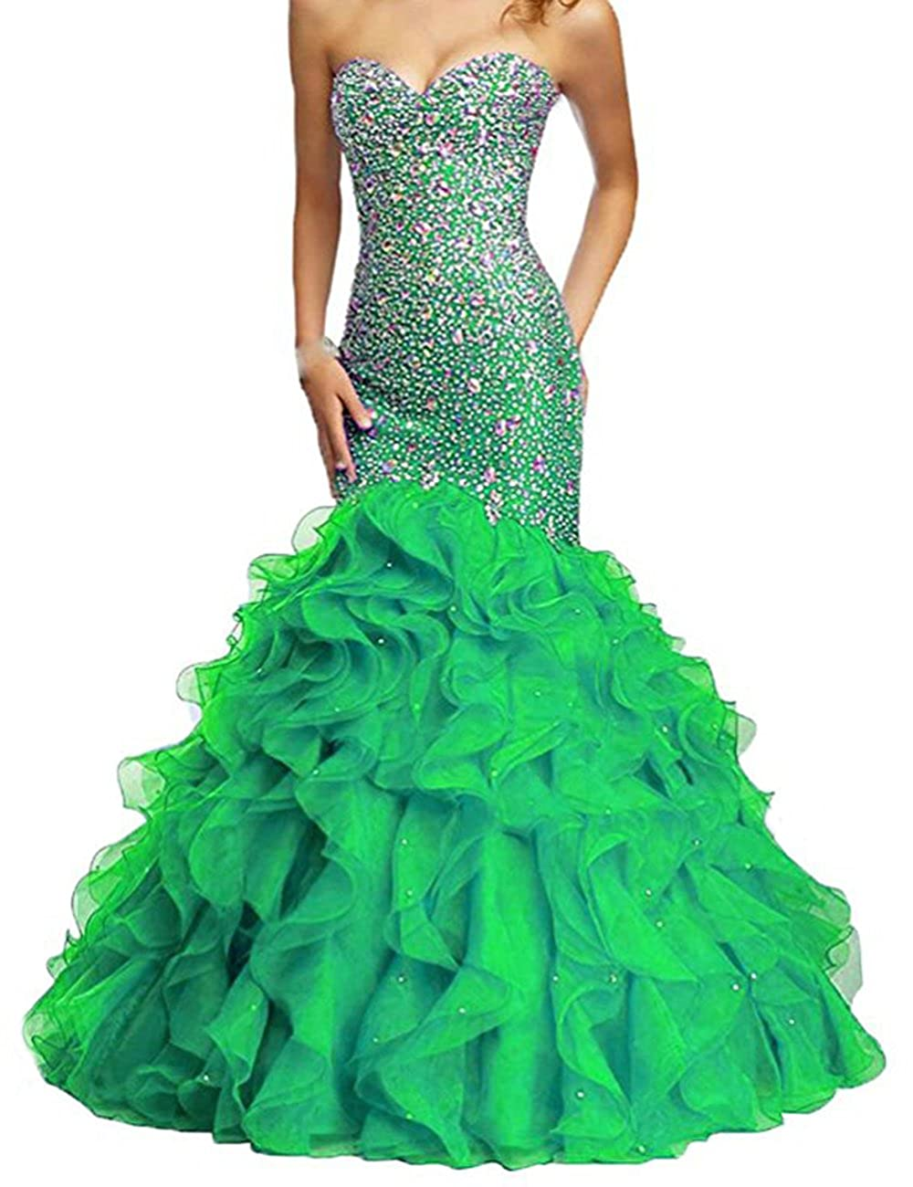 Green Beautydress Luxury Beaded Lace Up Sweetheart Mermaid Prom Dresses for Women BP116