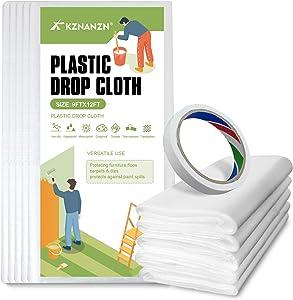 5-Pack Painter Plastic Drop Cloth Sheet, 9x12-Feet Waterproof Heavy Duty Clear Plastic Tarp Furniture Cover- Used for Plastic Covers for Furniture, Paint Floor Cover, Wall Painting, Patio