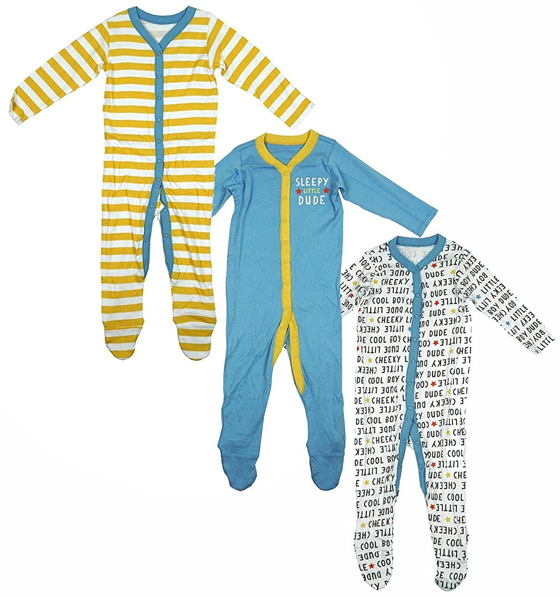 Boys Baby Pack of 3 Sleepy Dude Cotton Sleepsuit Rompers Sizes from Newborn to 24 Months