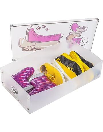 Tatkraft Thorvald Juego de 3 Cajas Plegables de Zapatos de Mujer Apilables de Plástico Transparente con