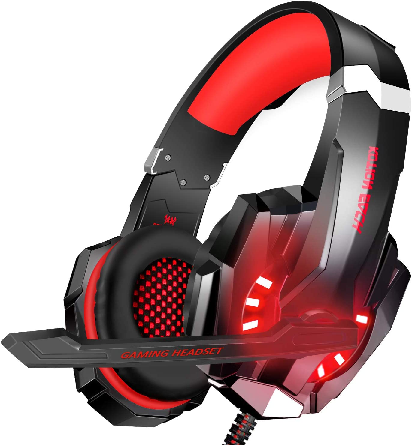 BlueFire Stereo Gaming Headset for PS4, PC, Xbox One Controller, Noise Cancelling Over Ear Headphones with Mic, LED Light, Bass Surround, Soft Memory Earmuffs for Laptop Nintendo Switch(Red)