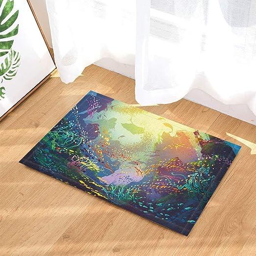 """15X23/"""" Kitchen Bath Doormat Non-Slip Bathmat Rug Carpets Underwater World Scenes"""