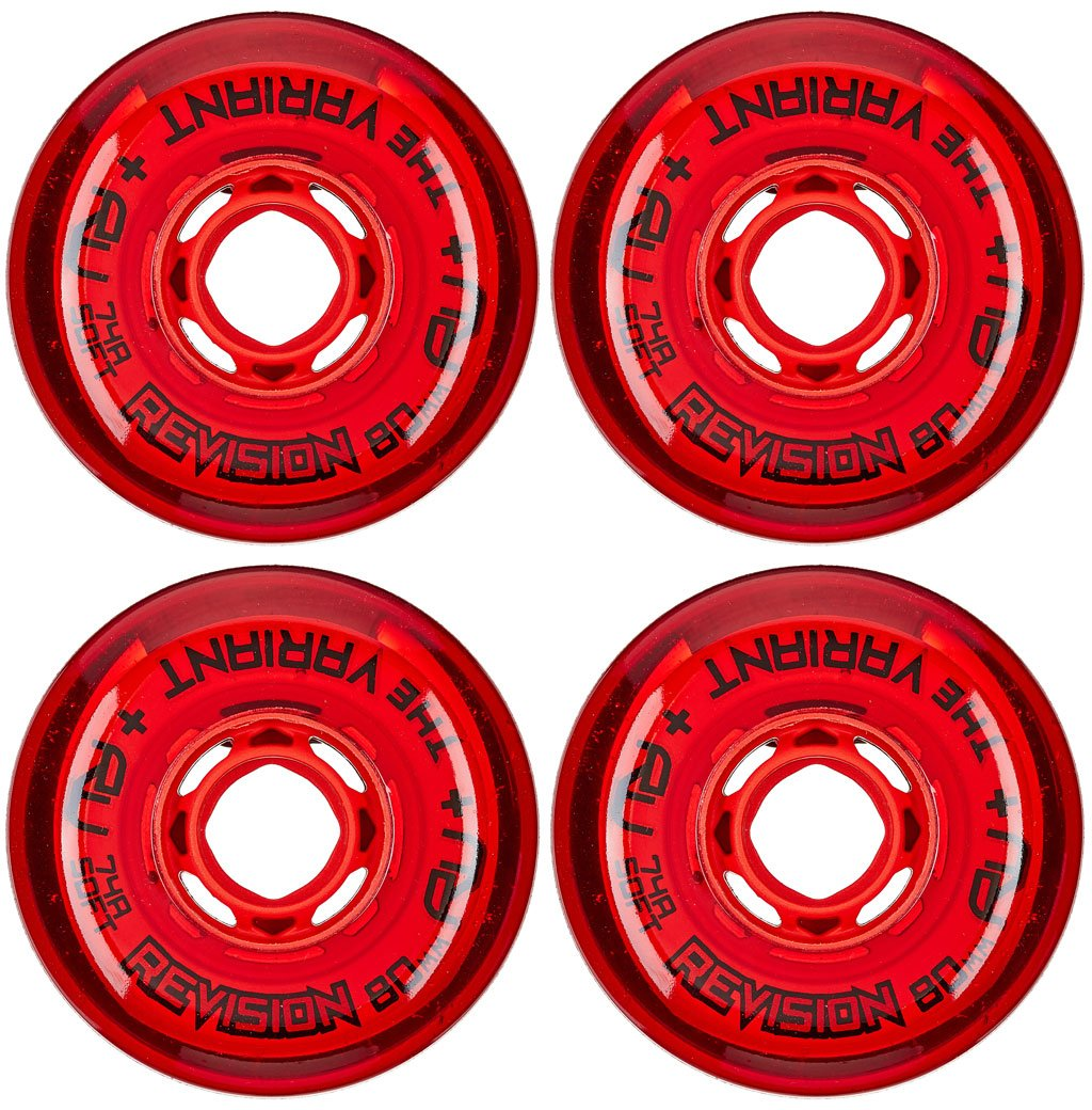 Revision Wheels Inline Roller Hockey Variant Soft Red 80mm 74A 4-Pack