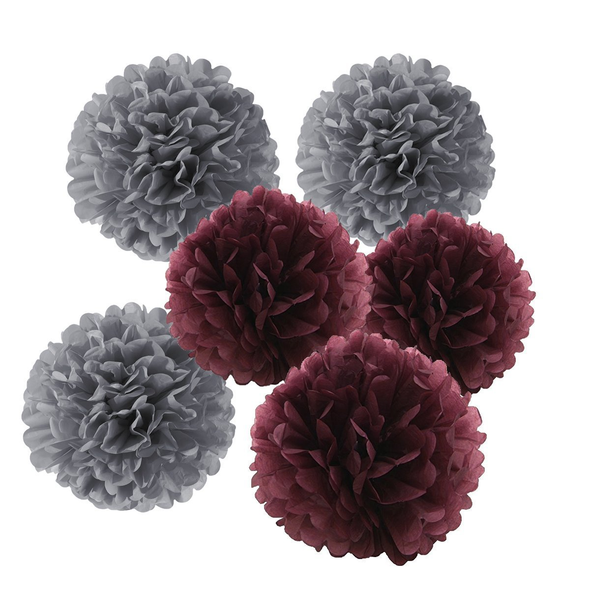 HEARTFEEL 12pcs Tissue Paper Pom Poms - Grey Burgundy Paper Flowers 8inch 10inch Tissue Paper Balls,Best Paper Pom Pom Decorations for Wedding Birthday Baby Shower Bachelorette Nursery Decor by HEARTFEEL