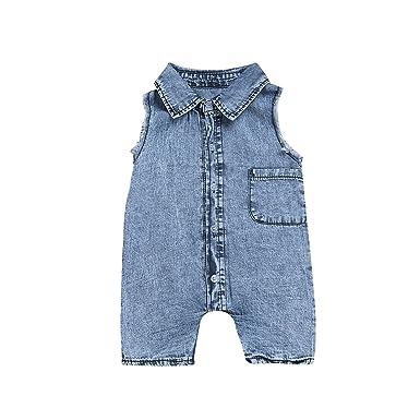 9e32aac7a PLOT Boys Girls Romper Denim Jumpsuit Clothes Bodysuit Playsuit Pajamas  Outfit 0-4T: Amazon.co.uk: Clothing