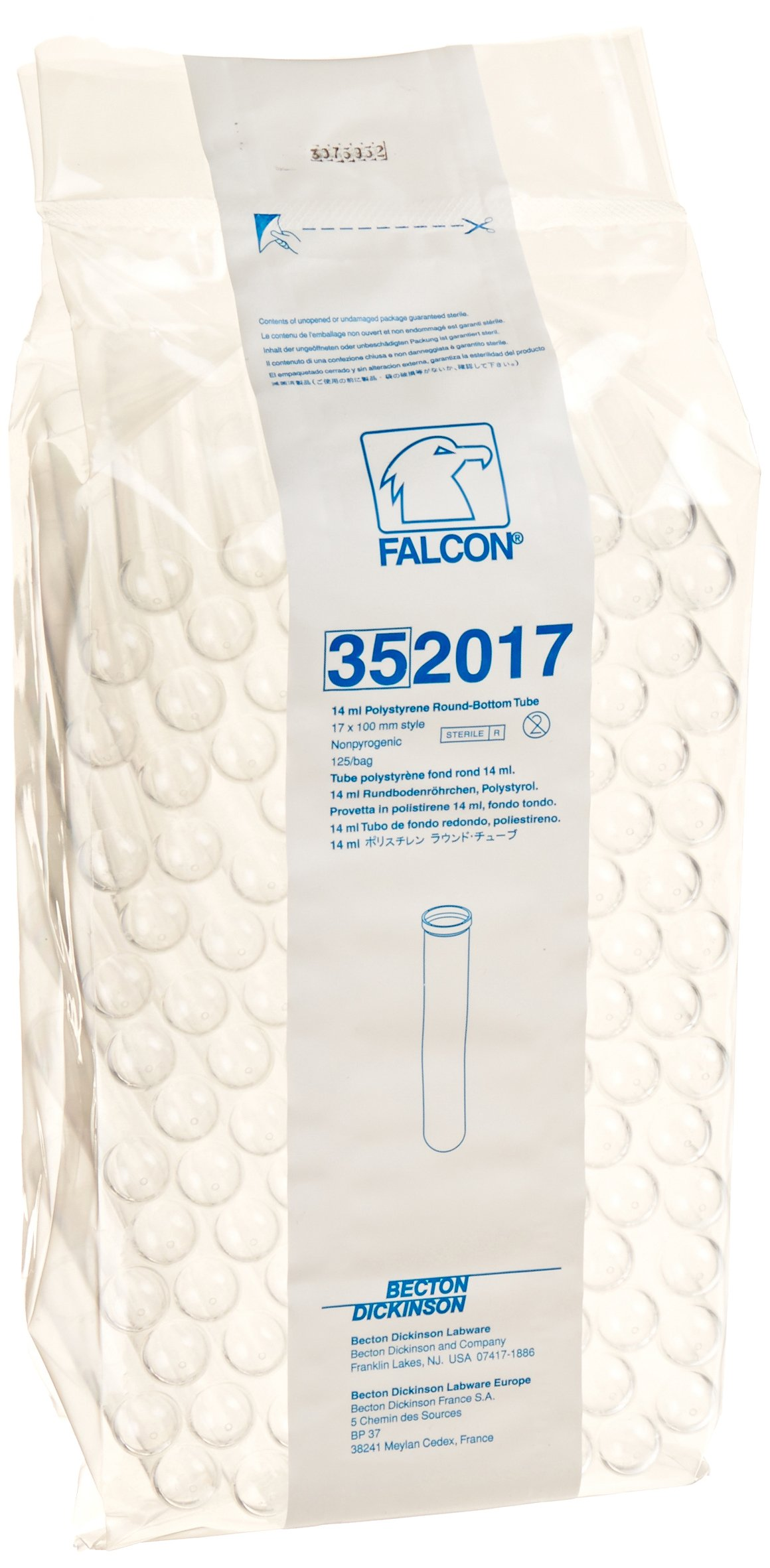 BD 352017 Falcon Polystyrene Round Bottom Centrifuge Test Tube, 17mm Diameter x 100mm Length, 14mL Capacity, 1400 RCF (Case of 1000)