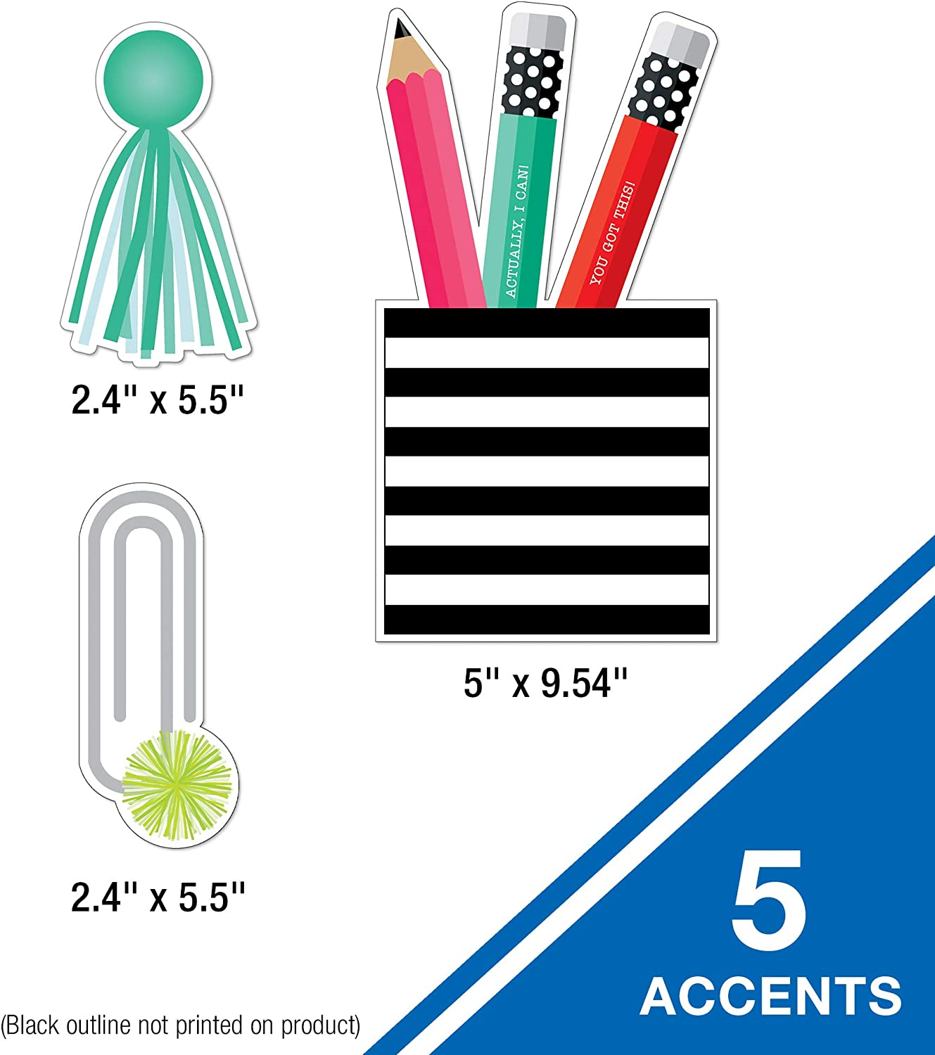 White and Stylish Mini Bulletin Board Set/—Banner Schoolgirl Style Black Pencil Pocket Paper Clips Pencils 17 pc 110492 Tassels Classroom or Homeschool Writing Practice